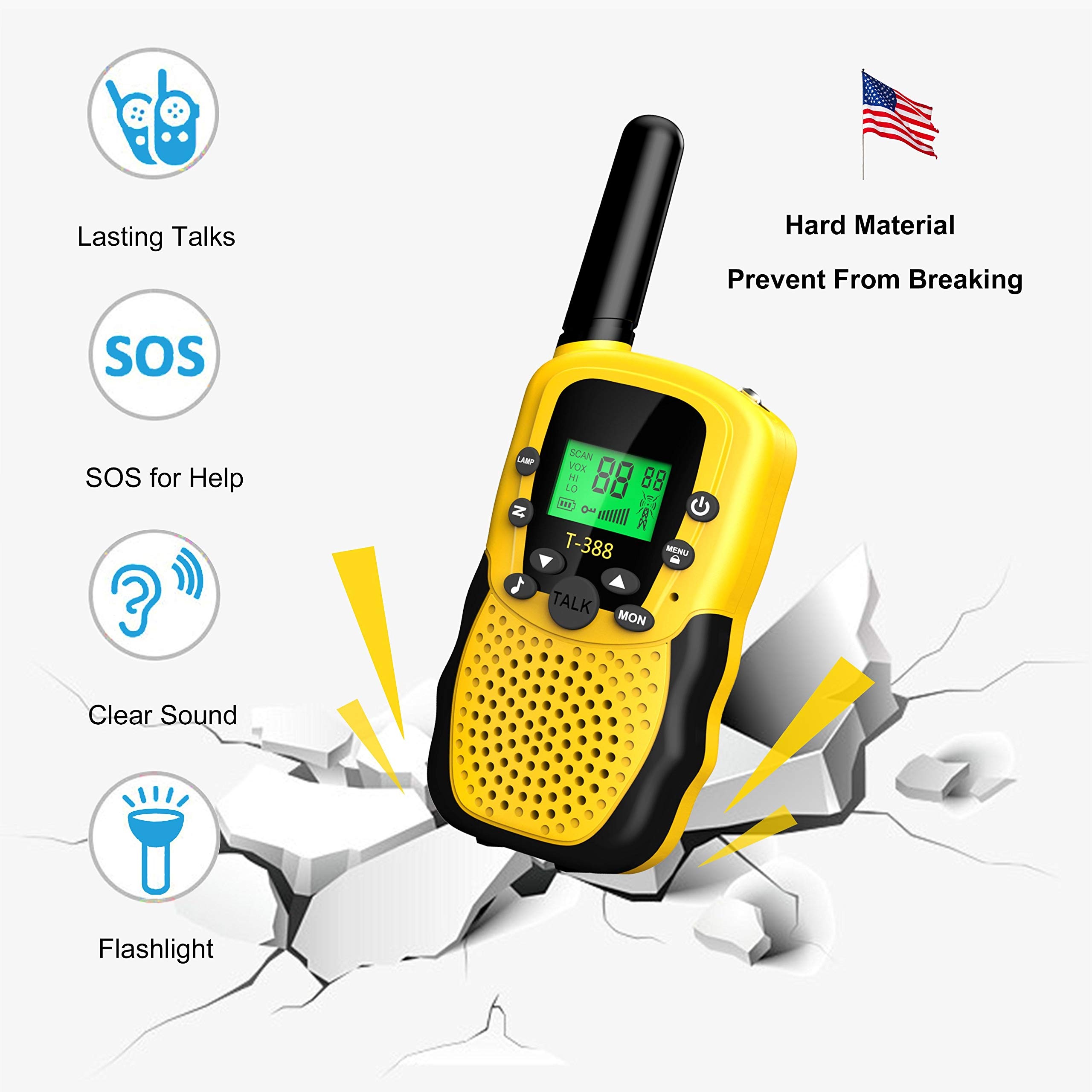 Walkies Talkies for Kids, 22 Channels FRS/GMRS UHF Two Way Radios 4 Miles Handheld Mini Kids Walkie Talkies for Kids Best Gifts Kids Toys Built in Flashlight by JimBest1970 (Image #5)