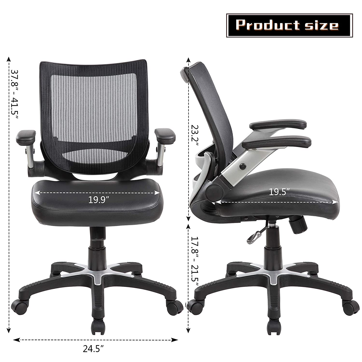 eurosports Ajustable Mesh Office Desk Chair Mid-Back Ergonomic Computer Chair with Flip-up Amrs,Black UNITED INDUSTRIES GROUP