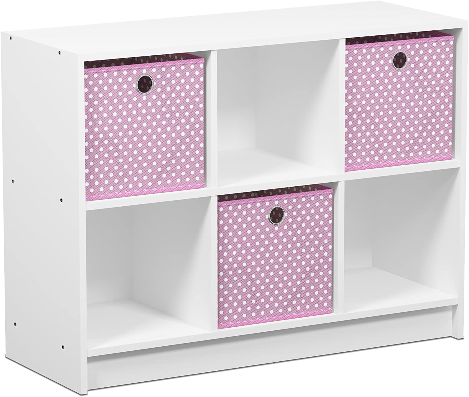 FURINNO Basic 3x2 Cubic Bookcase Storage Shelves, White/Light Pink,99940WH/LPI