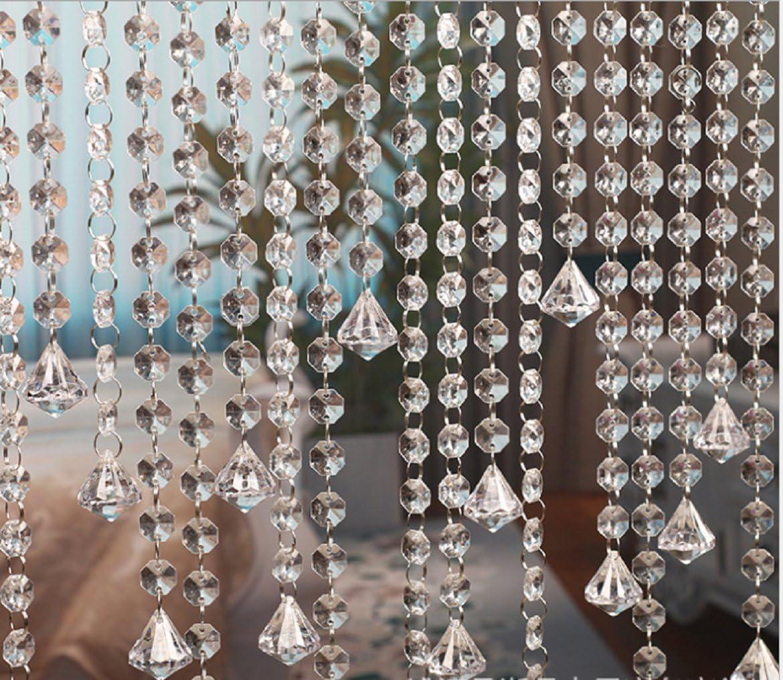 10 x 1m Guirnalda con Colgantes de Cristal Acrílico Clear octogonal de acrílico del grano Garland decoración de boda Cortina Decorativa Nupcial y de Fiesta (clear 2)
