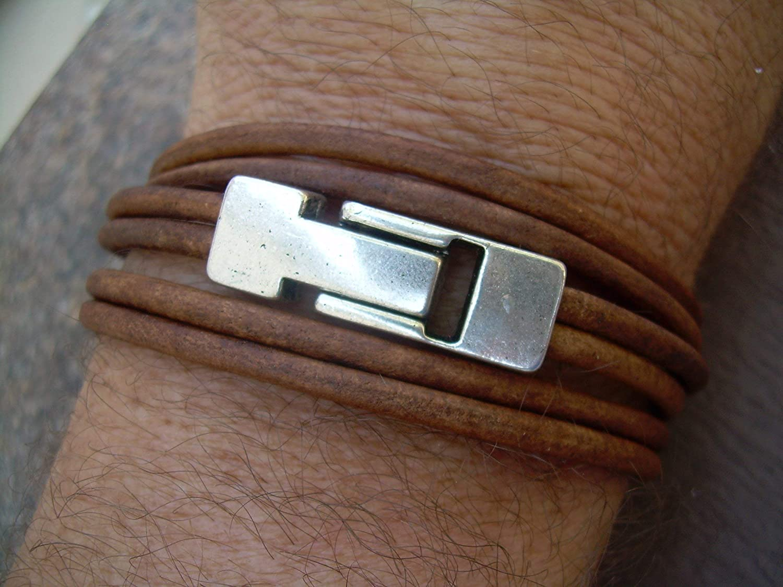 Leather Bracelet Double Strand Triple Wrap Light Brown,Magnetic Clasp Mens Bracelet Men Womens Bracelet Women Unisex