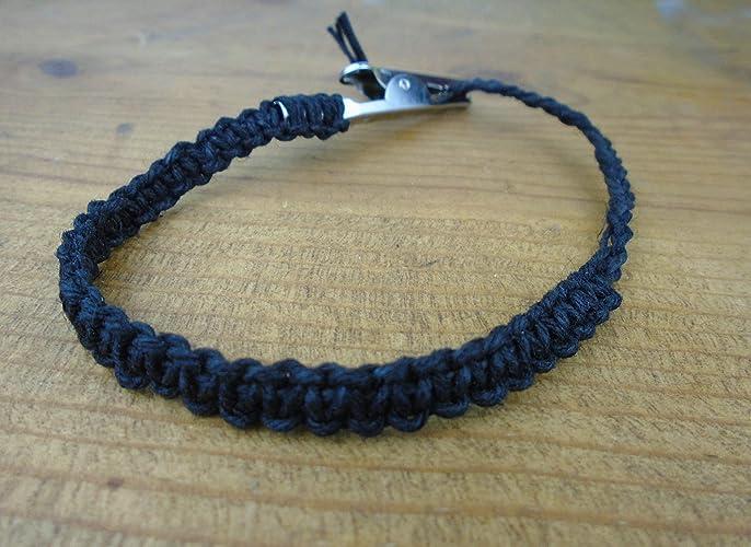 Amazon Com Black Hemp Bracelet Anklet 6 8 Inches Adjustable Men S