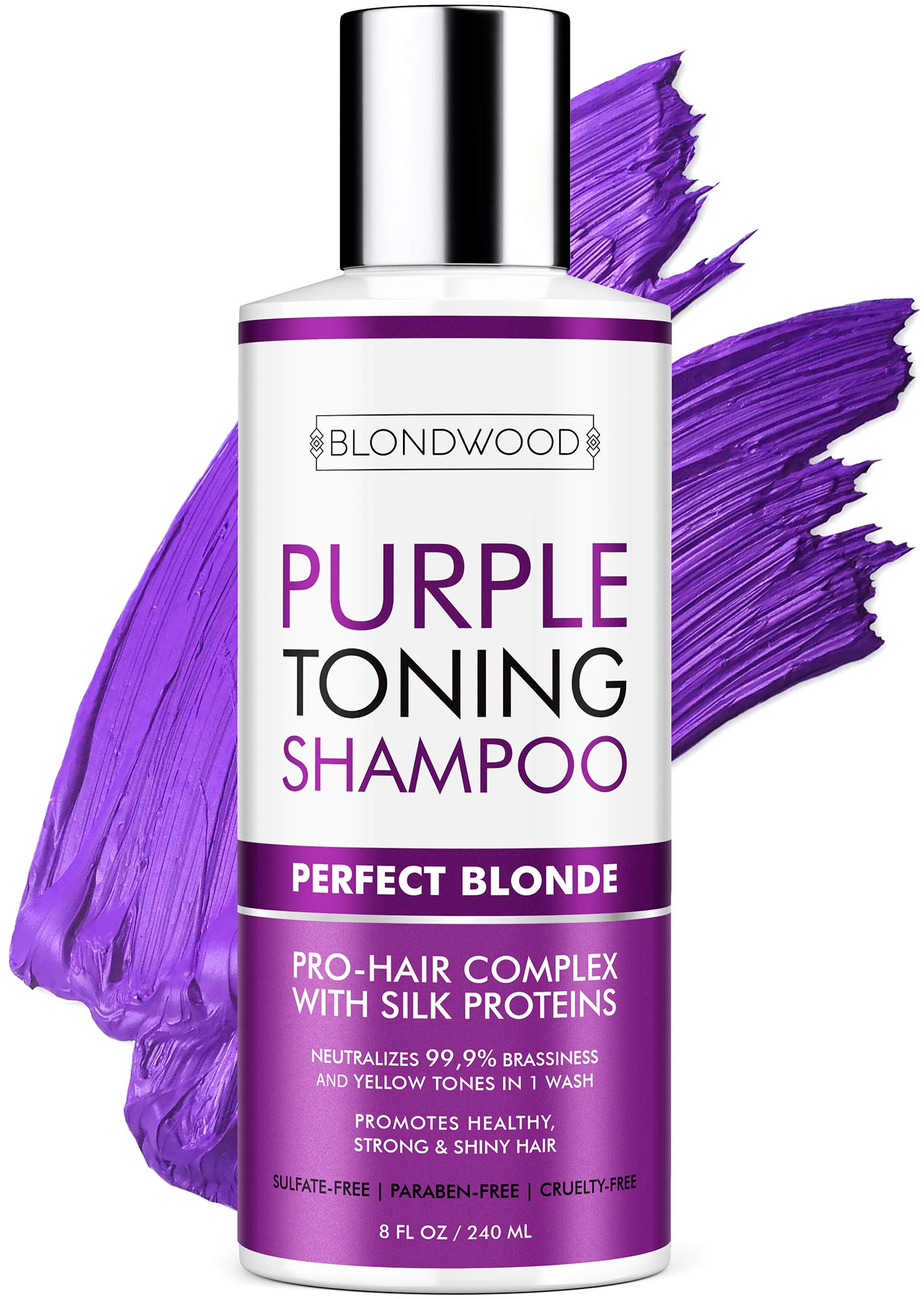 Purple Shampoo for Blonde Hair – Made in USA - Gentle Formula Toning & Hair Care - Removes Brassiness, Yellow & Overtones – Blonde Shampoo with Platinum, Ash & Overtone Purple – Cruelty-Free - 8 oz