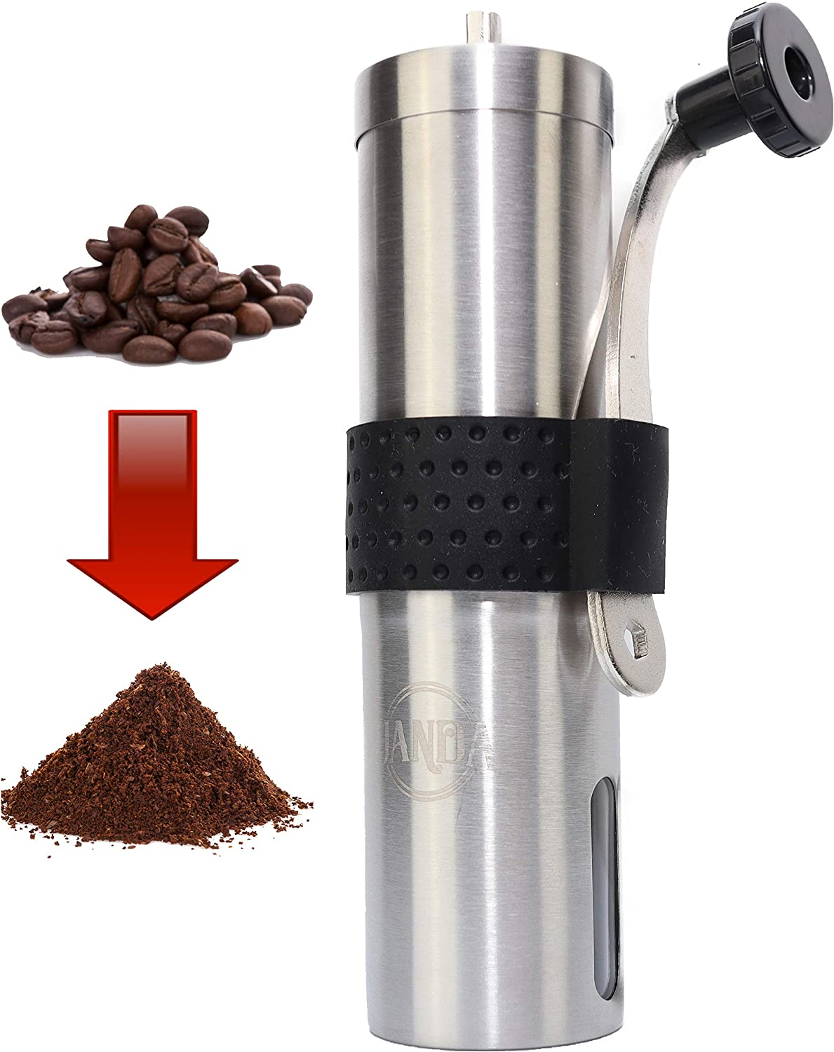 Amazon Com Manual Coffee Grinder By Janda Products Conical Stainless Steel Design And Ceramic Burr Grinder Portable Compact And Reusable For Camping Hand Operated For Coffee Tea Herbs And