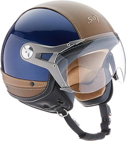 ECE Visor Leather Design Blue /· S Soxon SP-325 Urban Open Face Helmet 55-56cm