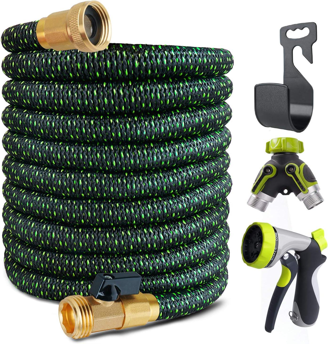 Garden Hose Expandable - Superior Strength 3750D / 4-Layers Latex/Extra-Strong Brass Connectors & Shut Off Valve - 8 Function Zinc Alloy Spray Nozzle/ 2-Way Pocket Flexible Splitter (50F-T)