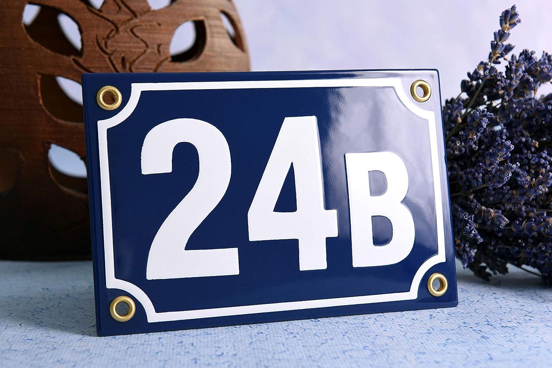 Hausnummer Emaille 10x15 cm mit Hausnummernschild Wunschnummer Premiumqualit/ät