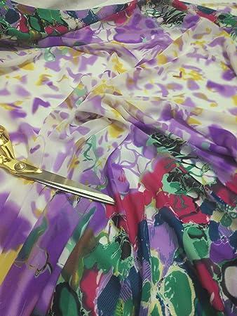 9774691eacf0 Soft Touch Chiffon Doppel Blumen Bordüre Print Stoff 152,4 cm breit ...