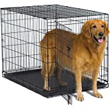 "New World 42"" Folding Metal Dog Crate, Includes Leak-Proof Plastic Tray; Dog Crate Measures 42L x 30W x 28H Inches, Fits…"