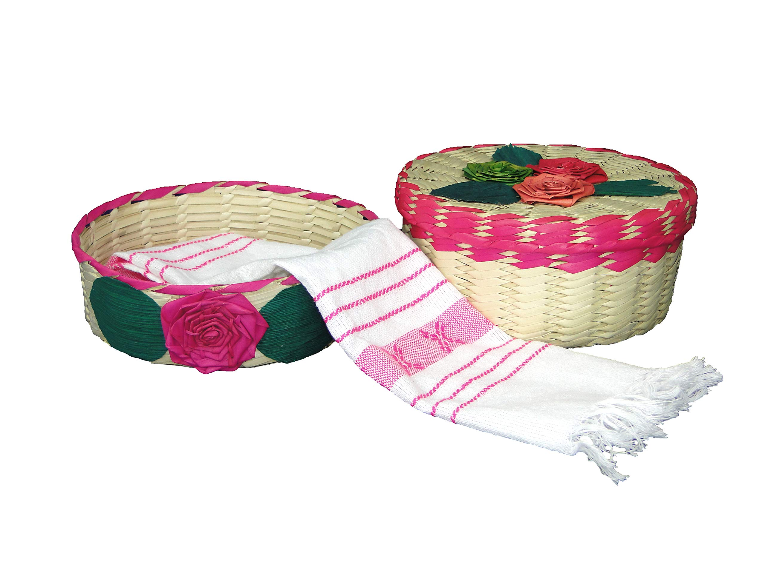 2 pack Mexican handmade palm baskets (one with lid) and 1 woven napkin cloth (servilleta mexicana) 100% cotton Eco Friendly tortilla warmer (tortillero) for party, fiesta decoration