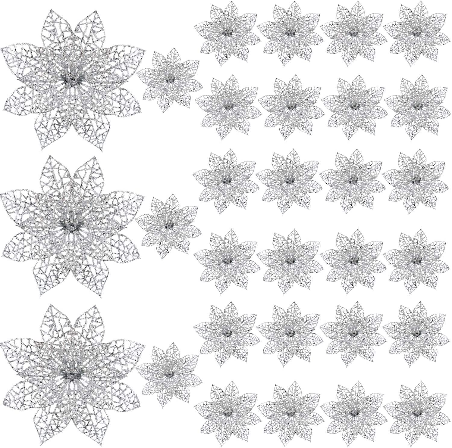 SATINIOR 30 Pieces Christmas Glitter Poinsettia Wedding Artificial Flowers for Christmas Tree Ornaments Wreaths Decor (Silvery)
