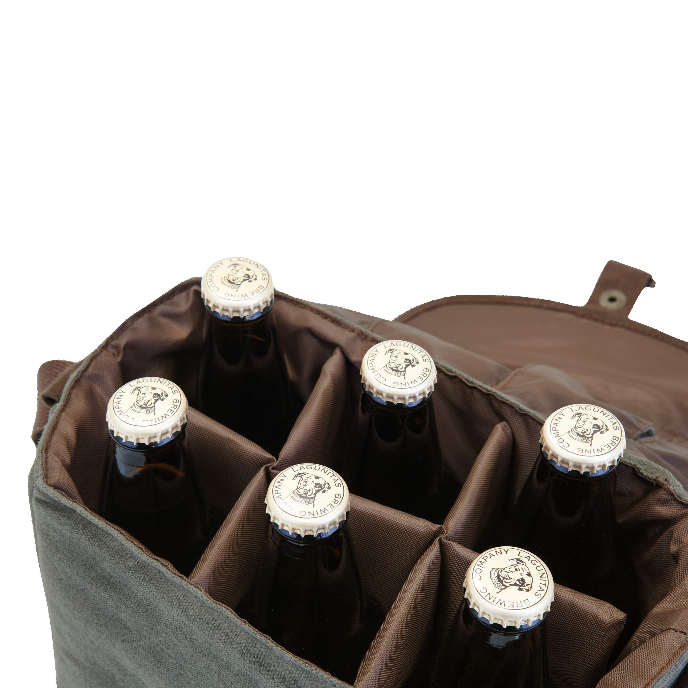 LEGACY - a Picnic Time Brand 6-Bottle Beer Caddy with Integrated Bottle Opener, Khaki Green/Brown by LEGACY - a Picnic Time Brand (Image #5)
