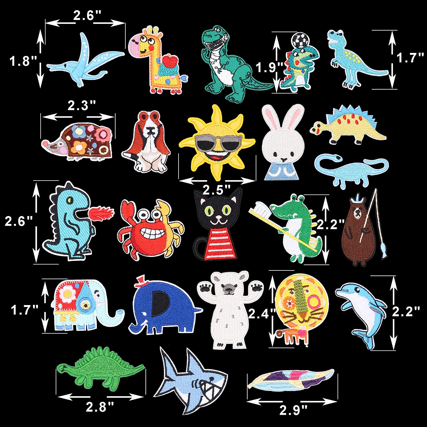 17pcs Cat and Fish Iron On Patches Embroidered Motif Applique Assorted Size Decoration Sew On Patches Custom Patches for DIY Jeans,Jacket,Kids Clothing,Bag,Caps Arts Craft Sew Making Kitten 17pcs