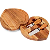 Heart Shaped Swivel Cheeseboard Set with Knives, Compact Design (3 Pieces)