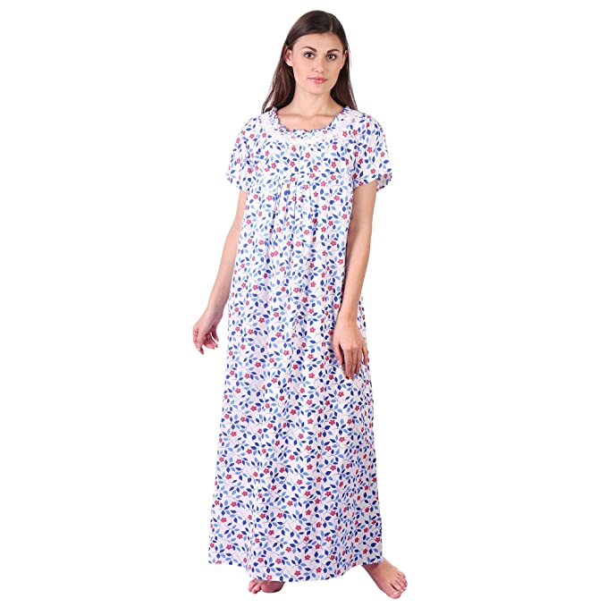3dec7e9f76 LDHSATI Fashion Women Pure Cotton Nighty Serena Satin Flower Printed Lace  Nightwear Night Dress Sleepwear Maxi