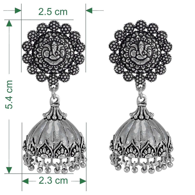 Beaded Dangle Jhumkas Lord Ganesha Stud Jhumki Silvesto India Silver Plated Maded Oxidised Traditional Jhumki Earrings
