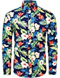 TUNEVUSE Men Floral Dress Shirts Long Sleeve Casual Button Down Flower Printed Shirts 100% Cotton