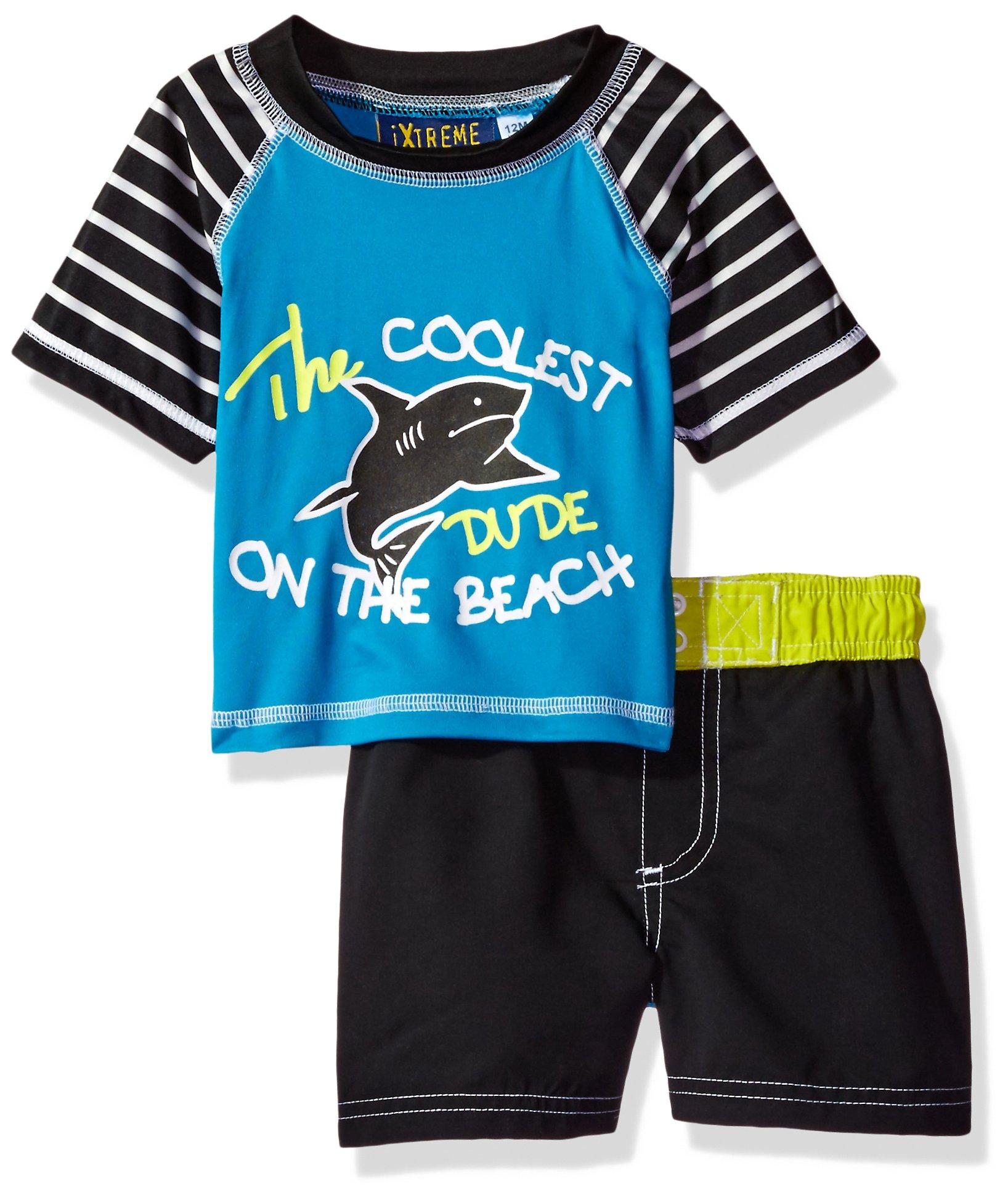 iXtreme Boys' Printed Rashguard Sets, Shark w Glasses Blue, 24M