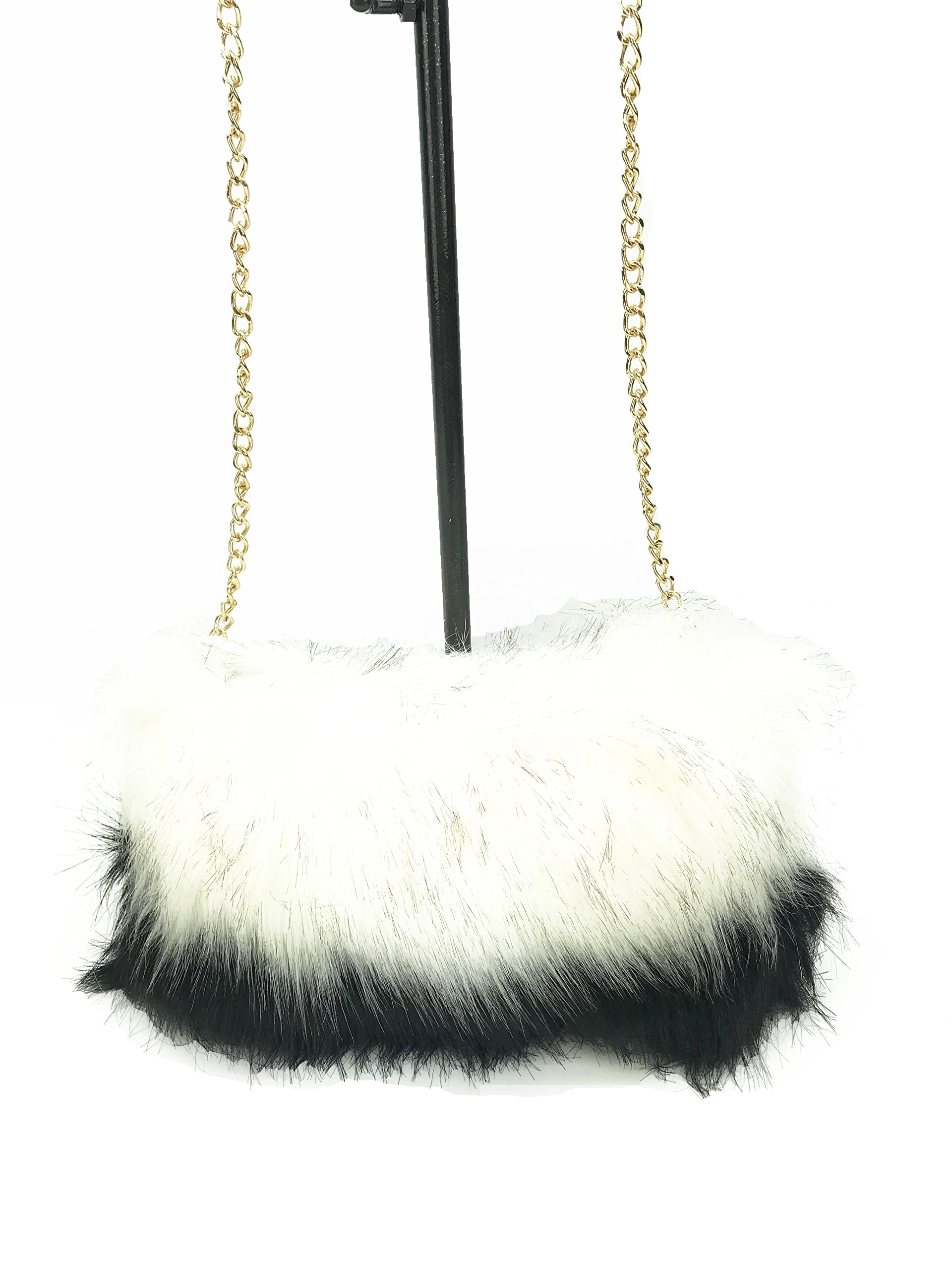 GoodCape ISABELLA Series faux fur two tone color sling bag with gold chain and zipper pocket by Goodcape (Image #1)
