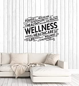 Vinyl Wall Decal Wellness Home Gym Words Cloud Spa Fitness Center Health Stickers Mural Large Decor (ig5976) Black