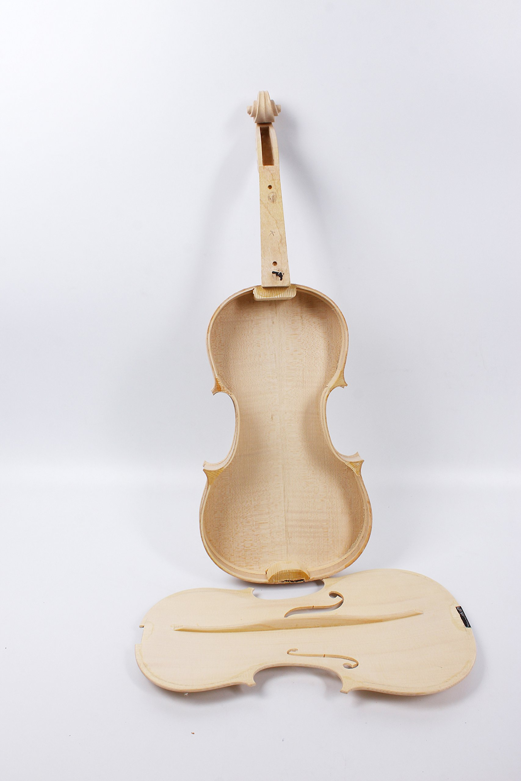 Yinfente Violin Unfinished White Violin 4/4 Unglued Violin Flame Maple & Spruce wood Top Violin Accessory Parts