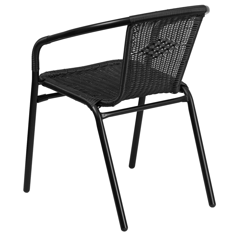 Charmant Amazon.com: Flash Furniture Black Rattan Indoor Outdoor Restaurant Stack  Chair: Kitchen U0026 Dining