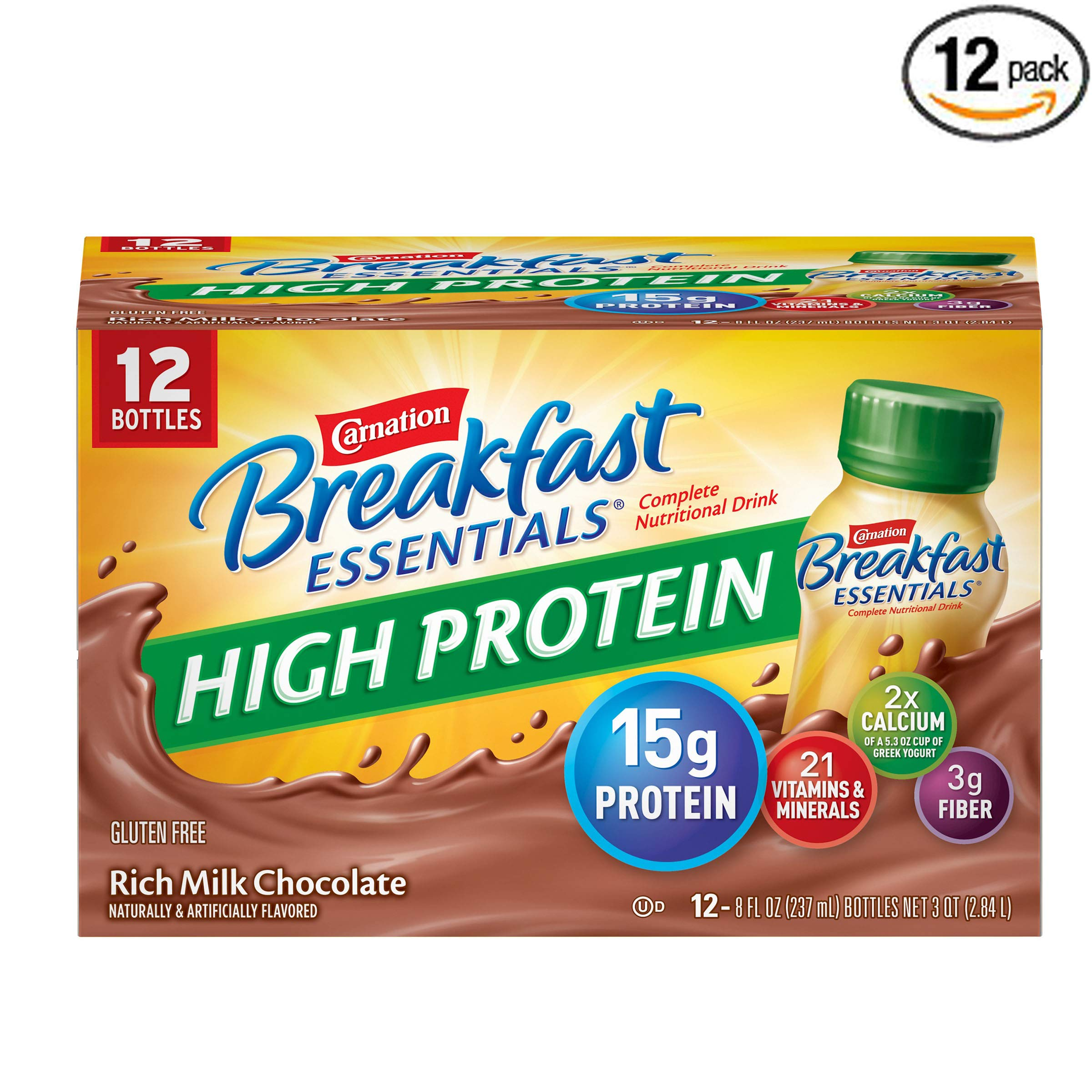 Carnation Breakfast Essentials High Protein Ready To Drink, Rich Milk Chocolate, 8 Fluid Ounce - Pack of 12