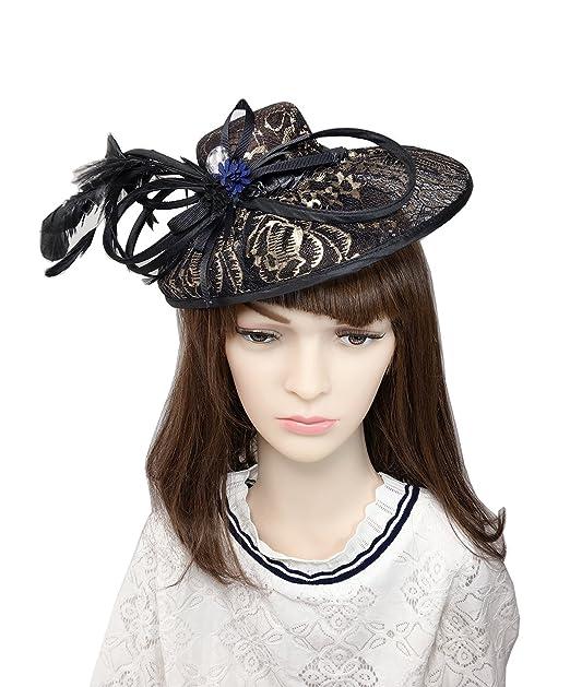 9474b2dad502b YSJOY Elegant Bowknot Lace Sinamay Fascinator Derby Hat Sweet Flower  Rhinestone Feather Bridal Wedding Hat Tea