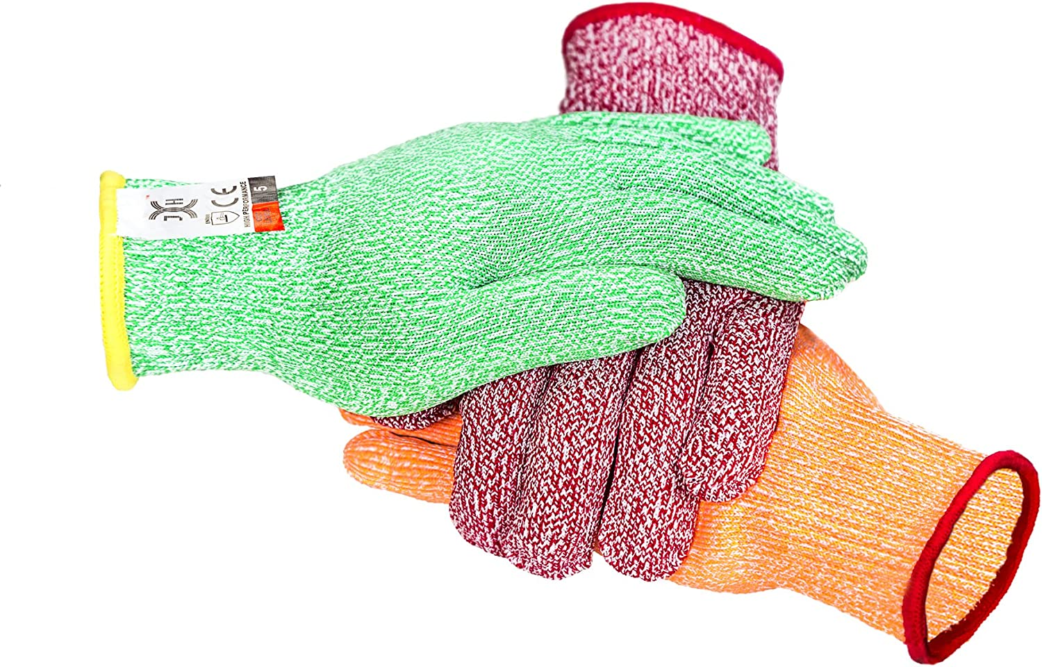 C0224L3 3 Color Cut Resistant Gloves Red For Meat, Green For Veg, Yellow For Fruit- High Performance Cut Level 5, Food Grade No Cross Contam, 3Piece Large
