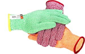C0223M3 3 Color Cut Resistant Gloves Red For Meat, Green For Veg, Yellow For Fruit- High Performance Cut Level 5, Food Grade No Cross Contam, 3Piece Medium