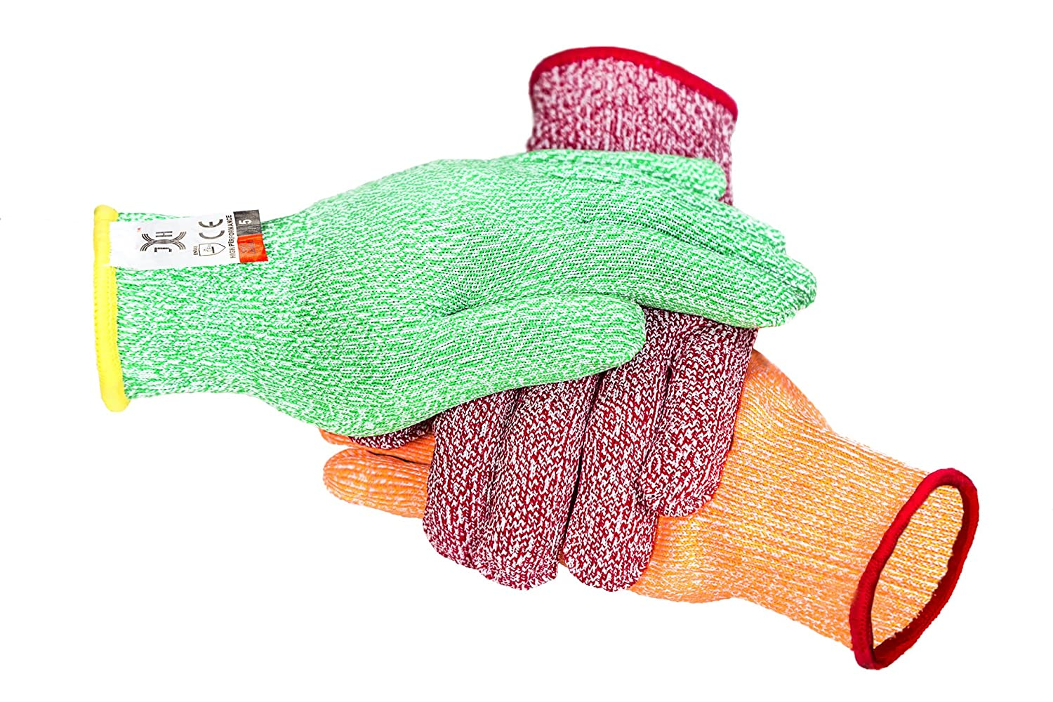 C0222S3 3 Color Cut Resistant Gloves Red For Meat, Green For Veg, Yellow For Fruit- High Performance Cut Level 5, Food Grade No Cross Contam, 3Piece Small