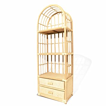 save off a5325 287da Rattan Handmade Wicker Bookcase Display Rack with 2 Drawers ...
