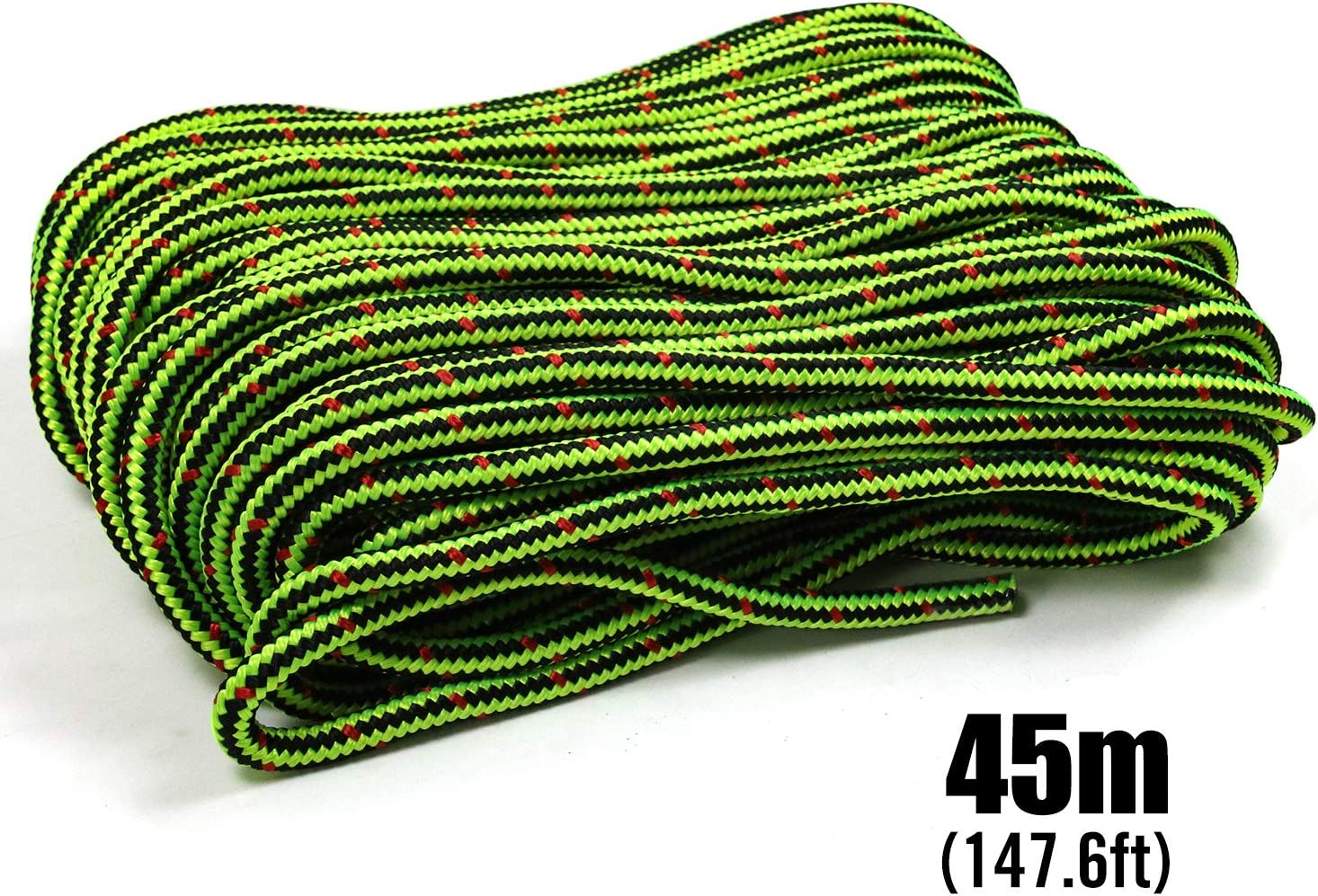 Perantlb 16 Strand Arborist Climbing Rope 2by 150 Black with Green UV Resistant and Weather Resistant Double Braided Boat rope1