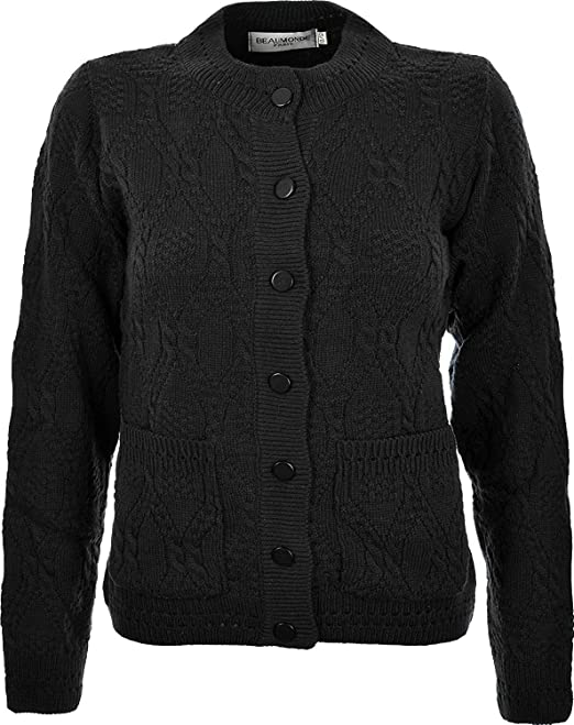 d397800795 Miss Trendy Womens Ladies Knitted Crew Neck Pocket Front Button Up Aran  Cardigan UK 10-24  Amazon.co.uk  Clothing