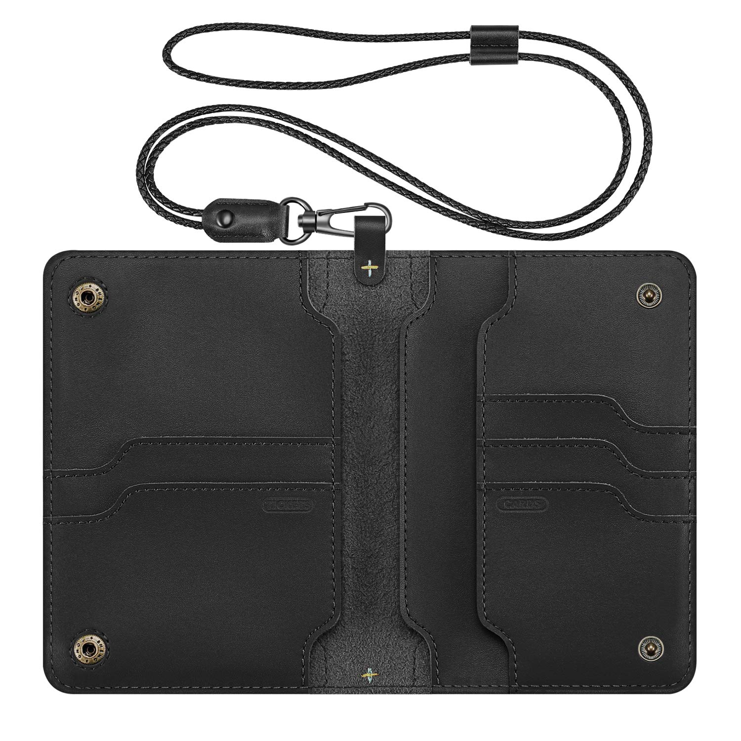 Genuine Leather Passport Holder, Fintie Travel Wallet with Lanyard Card Case Cover, Black by Fintie