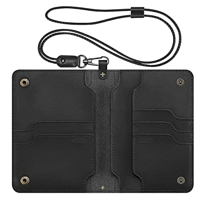 Fintie Passport Holder Travel Wallet RFID Blocking PU Leather Card Case Cover (A-Genuine Leather-Black)