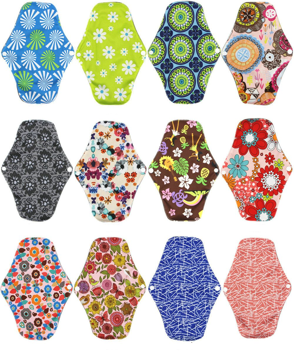 Women Hygiene Sanitary Pad, Feminine Reusable Panty Liner,Bamboo Cloth Mama Menstrual Sanitary Nappy Towel Pad (25.5 x 18cm) (10PCS) Zcoins