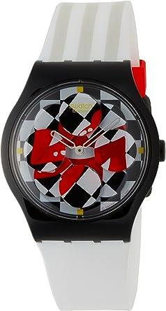 Swatch SUPB100 - Reloj de Mujer de Cuarzo, Correa de plástico Color Blanco: Amazon.es: Relojes