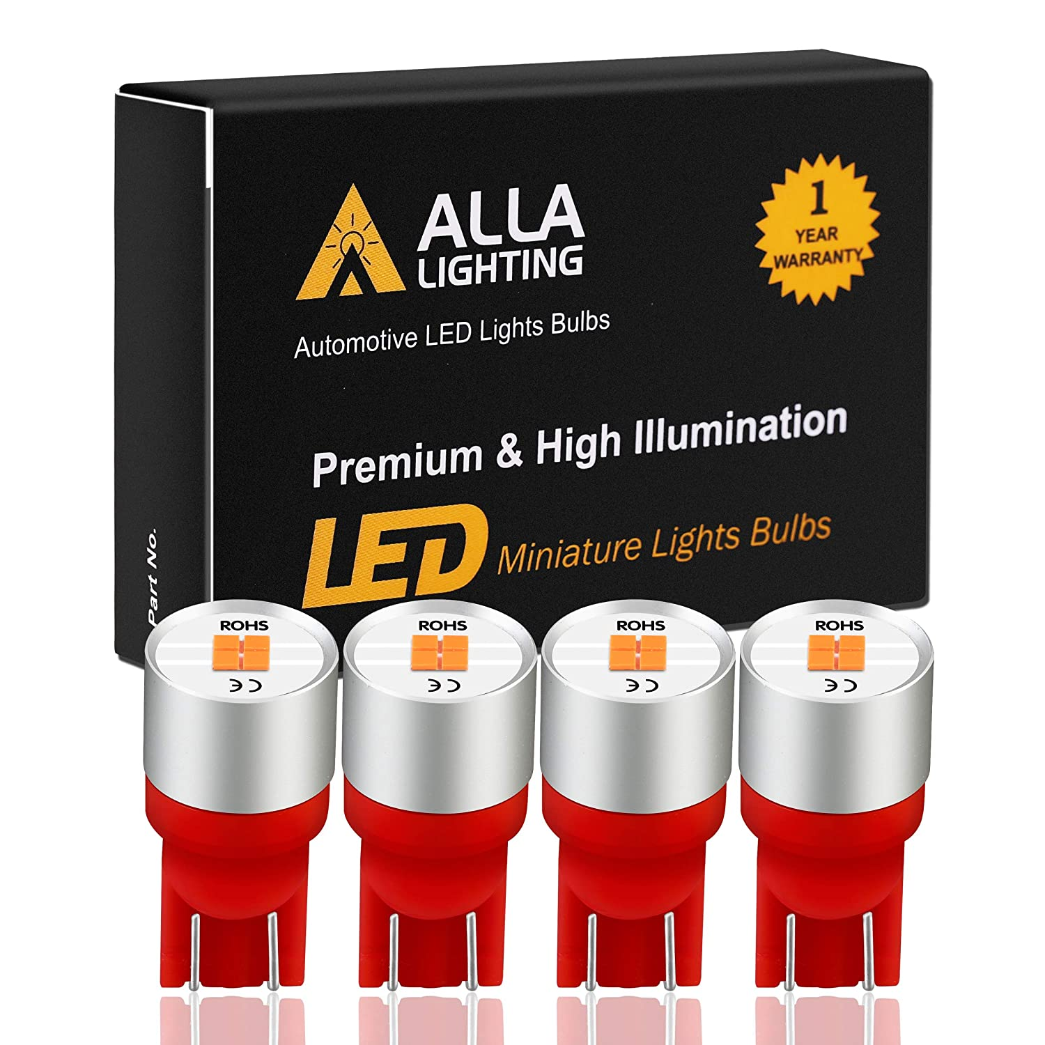Alla Lighting Newest T10 194 LED Bulb 1616-SMD Super Bright LED 194 168 2825 W5W 175 Bulb High Power T10 Wedge LED 194 Bulb License Plate Tag Interior Map Dome Trunk Lights, Pure Red (Set of 4)