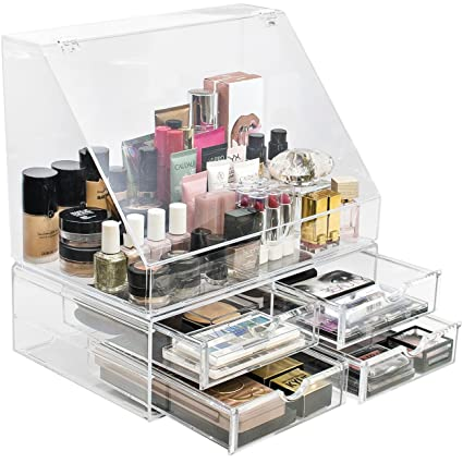 Sorbus Acrylic Cosmetics Makeup Organizer Storage Case Holder Display with Slanted Front Open Lid-Cosmetic