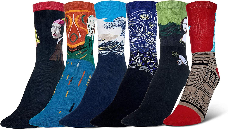 Wolintek 6 pares Calcetines de Algodón Hombre y Mujer Arte Retro Pinturas Famosas Calcetines