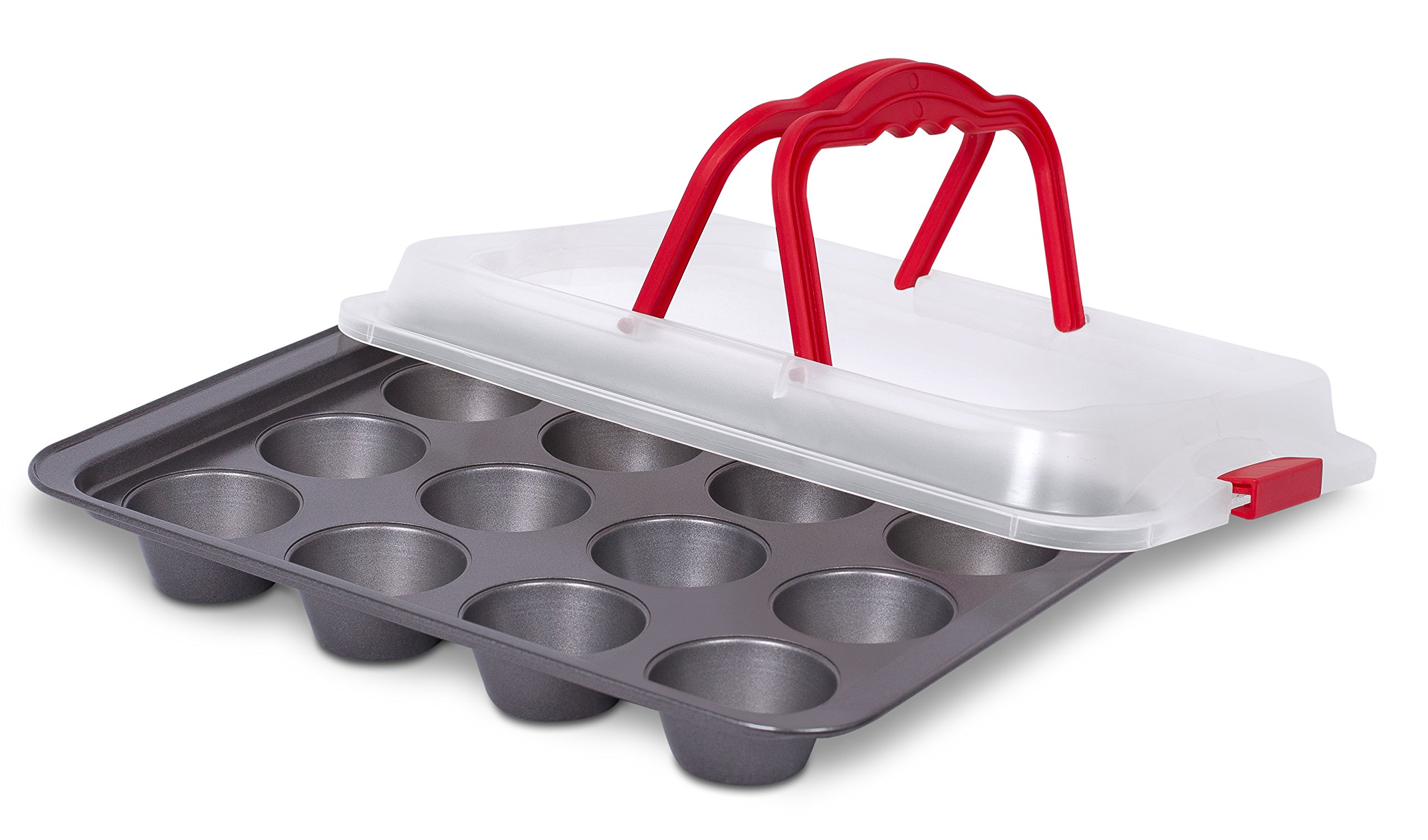 Internet's Best Cupcake Baking Pan with Lid and Handles | 12 Cup | Non-Stick Muffin Tray with Cover | Dishwasher Safe | Red & Grey
