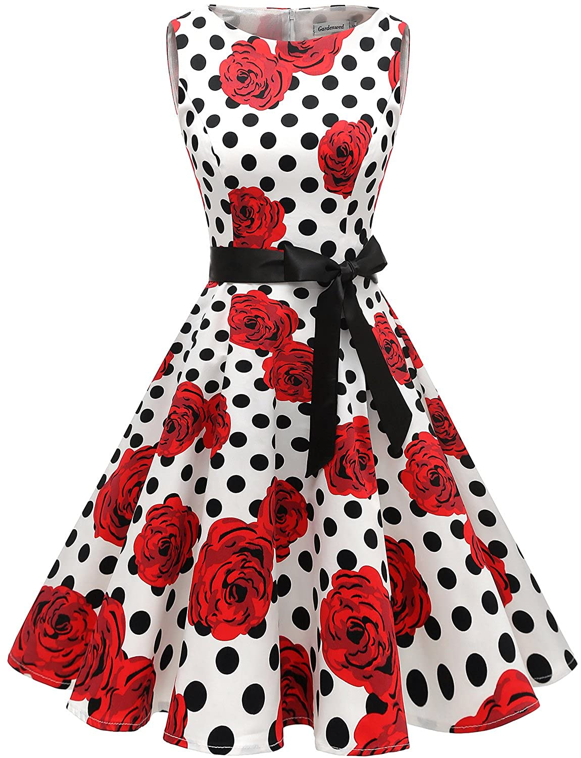 Gardenwed Women's Vintage 1950s Retro Rockabilly Swing Cocktail Dresses with Belt