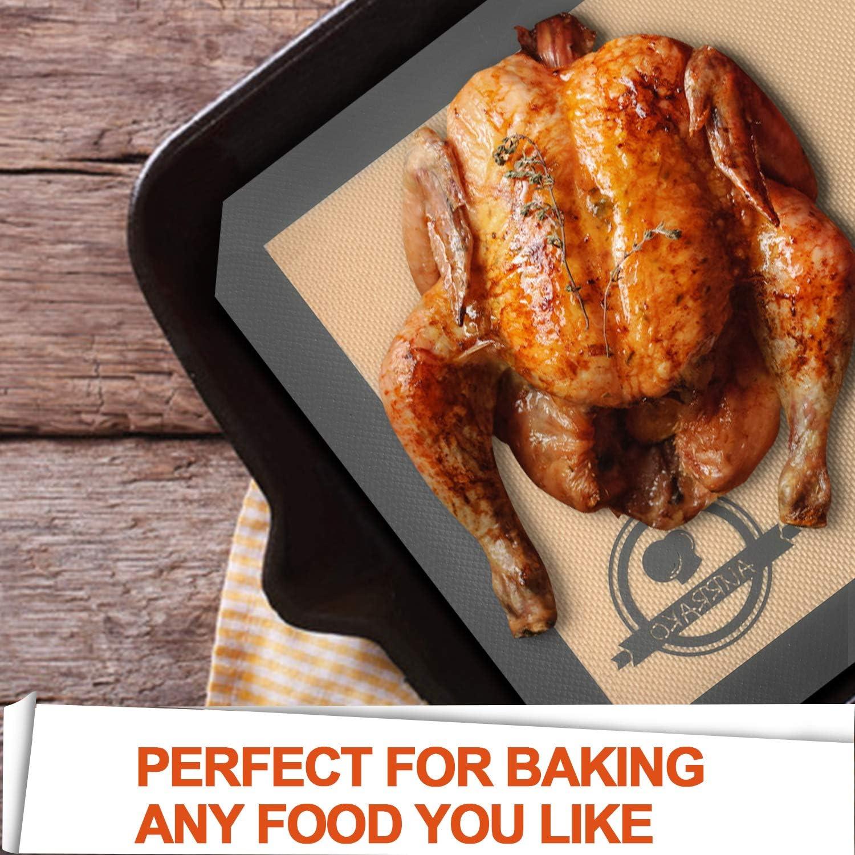 5 PCS Aurrako Silicone Baking Mats for Baking Sheets,2 Half Sheets Mats+1 Quarter Sheet Liner+1 Round /&1 Square Cake Pan Mat,Non Stick BPA Free and Reusable Cookie Baking Sheet Macarons Baking Mats