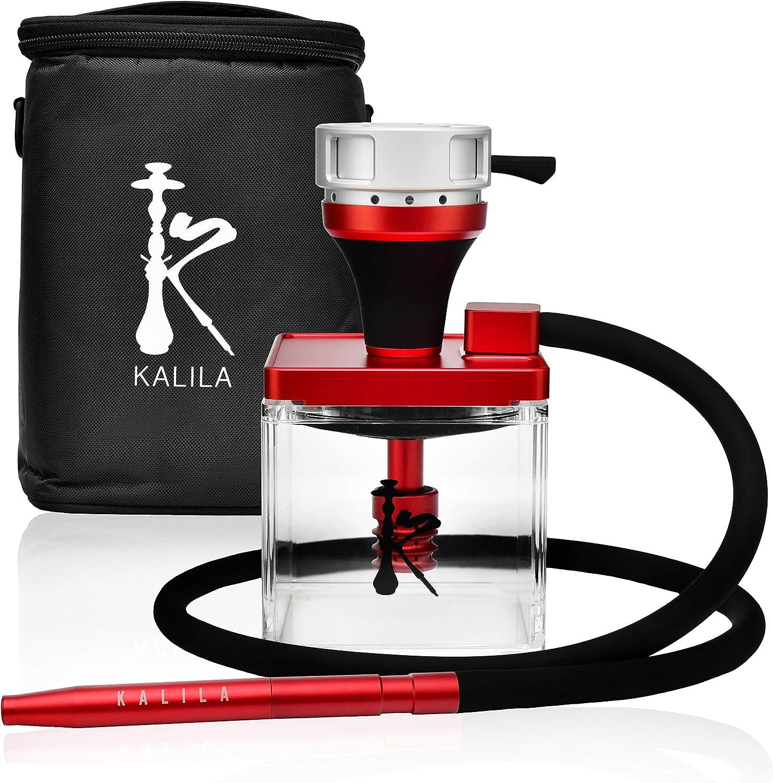 KALILA Shisha prémium para casa o para llevar – Juego completo que incluye recipiente para tabaco + gestión de calor + tubo de inmersión + difusor + manguera + boquilla y bolsa de transporte – rojo