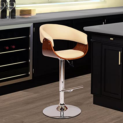 Armen Living LCPASWBACRWA Paris Swivel Barstool In Cream Faux Leather And  Chrome Finish