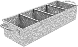 Walford Home Galvanized Farmhouse Decor Tray with Handles - Metal Caddy Organizer for Kitchen, Garden and Garage Tools - Outdoor, Rustic, Home Decor - Galvanized Tray and Storage with 4 Compartments