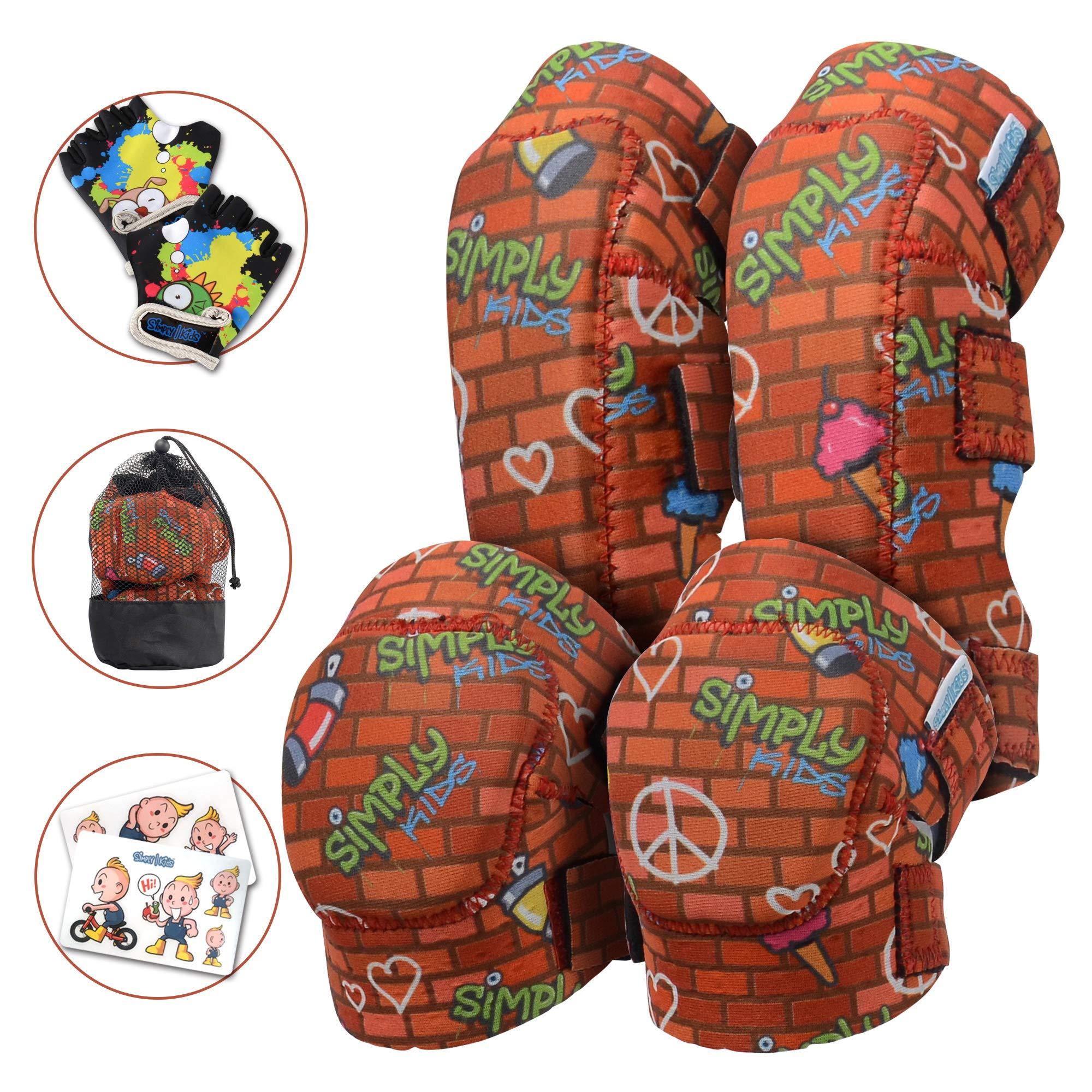 Innovative Soft Kids Knee and Elbow Pads with Bike Gloves | Toddler Protective Gear Set w/Mesh Bag | Roller-Skating, Skateboard, Bike for Children Boys Girls (Graffiti Brick Wall, Medium (4-8 Years))