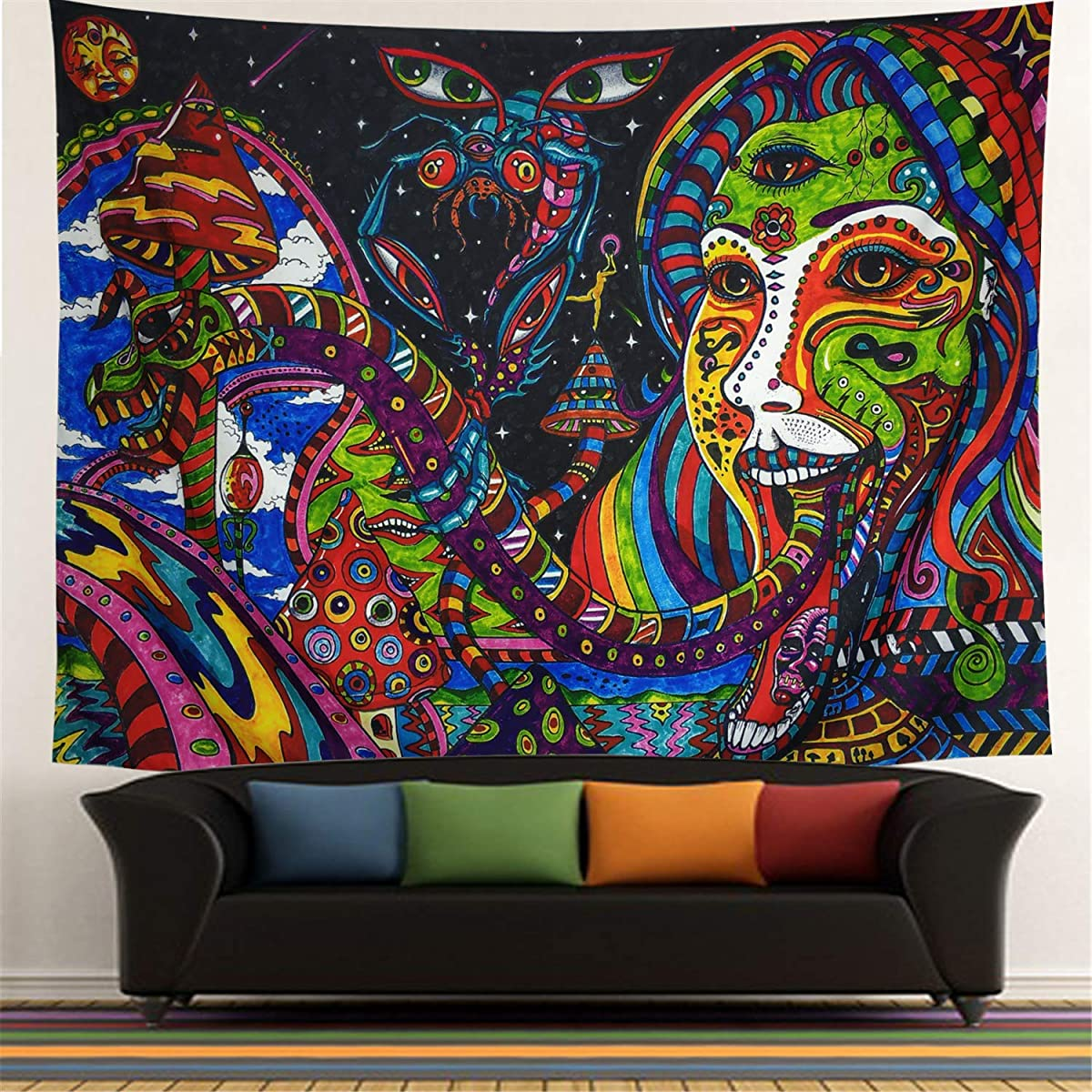 Colorful Tapestry Wall Tapestry Wall Hanging Psychedelic Tapestry Retro Pattern Hippie Mandala Bohemian Tapestry Ethnical Abstract Intricate Tapestry Wall Decor for Bedroom Living Room Dorm