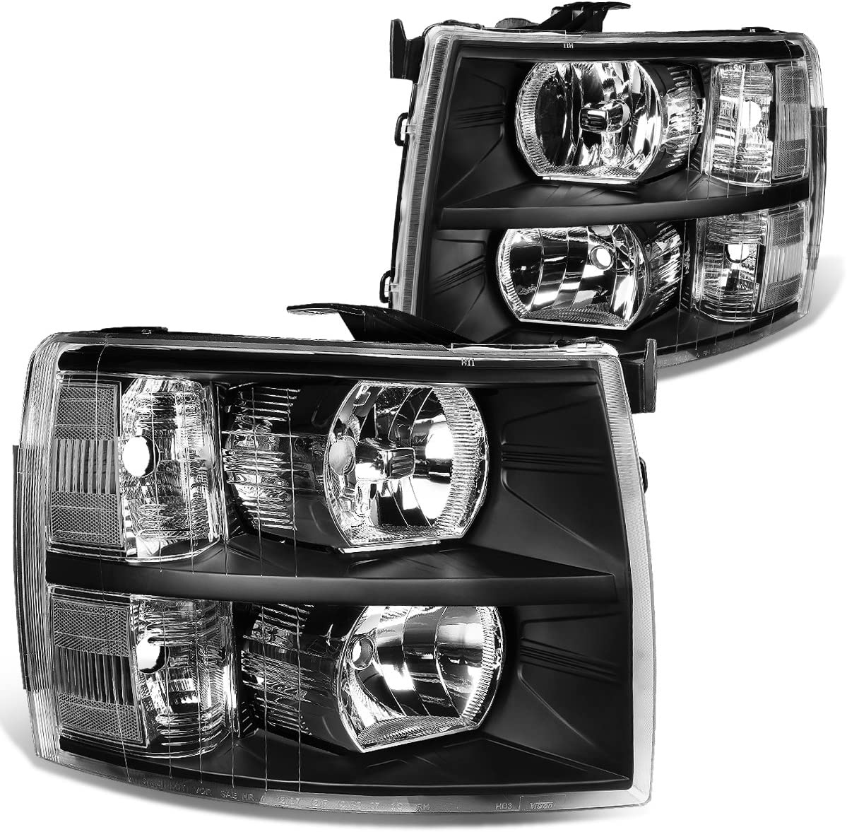 DNA Motoring HL-OH-CSIL07-BK-CL1 Black Housing Headlights